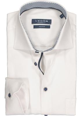 Ledub Modern Fit overhemd, wit structuur (contrast)