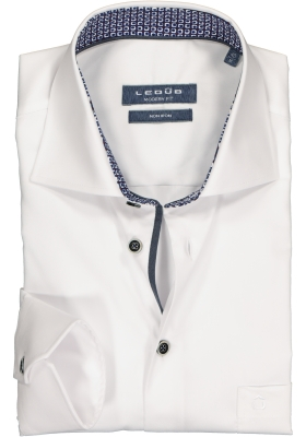 Ledub Modern Fit overhemd, wit twill (contrast)