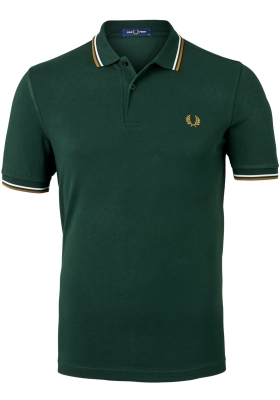 Fred Perry M3600 polo twin tipped shirt, Evergreen / Snow White / Dark Caramel
