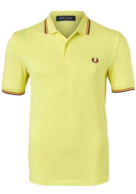 Fred Perry M3600 polo twin tipped shirt, Limelight / Gold / Claret