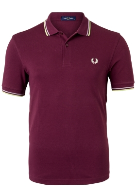 Fred Perry M3600 polo twin tipped shirt, heren polo, Aubergine / Rain / Willow