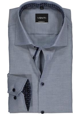 VENTI modern fit overhemd, blauw met wit structuur (contrast)
