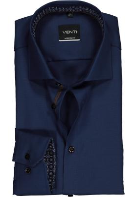 VENTI modern fit overhemd, donkerblauw structuur (contrast)