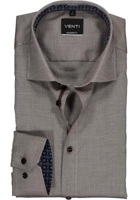VENTI modern fit overhemd, bruin structuur (contrast)