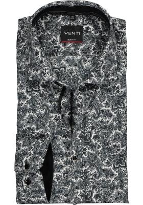 Venti Body Fit overhemd, zwart met grijs en wit pasisley dessin (contrast)