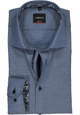VENTI body fit overhemd, blauw structuur (contrast)