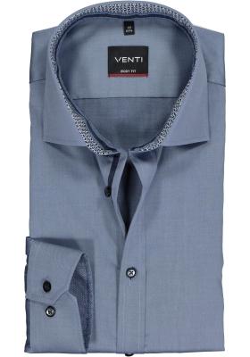 VENTI body fit overhemd, blauw twill (contrast)