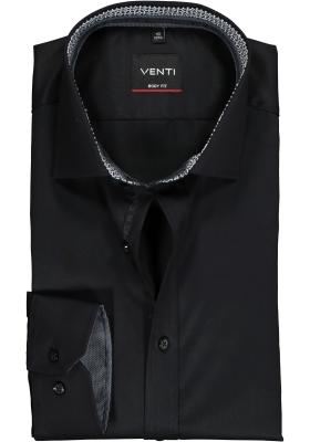 VENTI body fit overhemd, zwart twill (contrast)