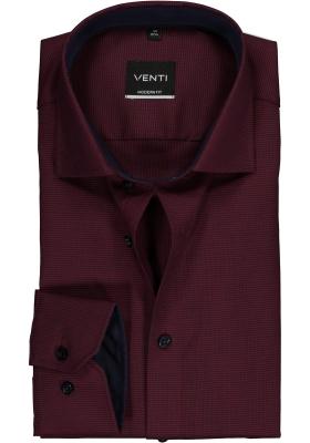 Venti Modern Fit overhemd, bordeaux met blauw structuur (contrast)
