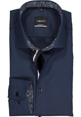 Venti Modern Fit overhemd, donkerblauw (contrast)