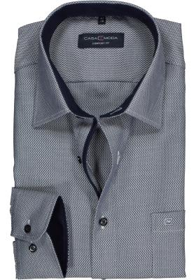 Casa Moda Comfort Fit overhemd, blauw met wit structuur (contrast)