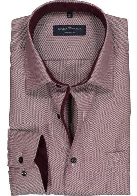 Casa Moda Comfort Fit overhemd, bordeaux met wit structuur (contrast)