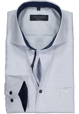 CASA MODA comfort fit overhemd, blauw met wit mini dessin structuur (contrast)