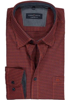 Casa Moda Sport Comfort Fit overhemd, oranje met blauw geruit (contrast)