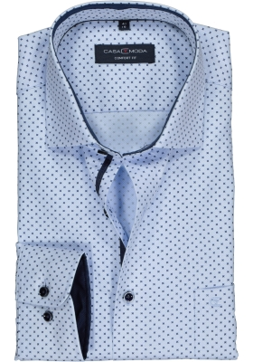 Casa Moda Comfort Fit overhemd, licht- met donkerblauw dessin (contrast)
