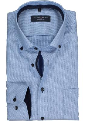 Casa Moda Comfort Fit overhemd, blauw mini dessin structuur (contrast)