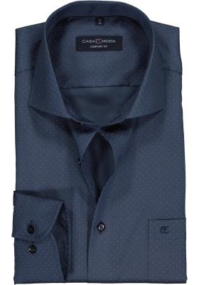 Casa Moda Comfort Fit overhemd, rookblauw met wit gestipt