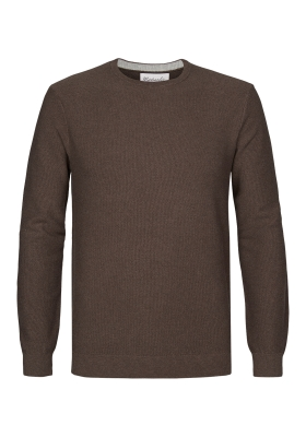 Michaelis Slim Fit O-hals heren trui (katoen), bruin