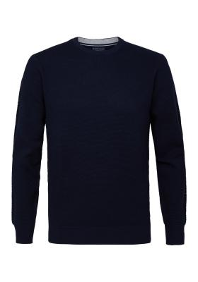 Profuomo Slim Fit O-hals heren trui (katoen), donkerblauw structuur