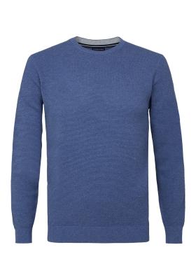 Profuomo Slim Fit O-hals heren trui (katoen), jeansblauw structuur