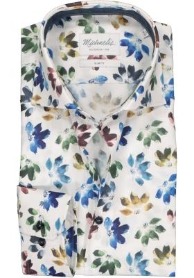 Michaelis Slim Fit  overhemd, wit met blauw en groen dessin