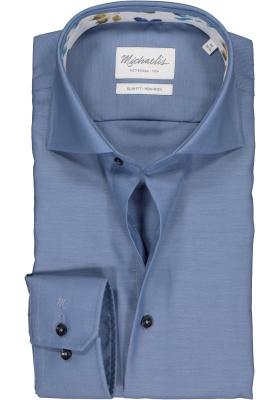 Michaelis Slim Fit  overhemd, lichtblauw twill (contrast)