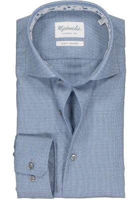 Michaelis Slim Fit  overhemd, blauw structuur (contrast)