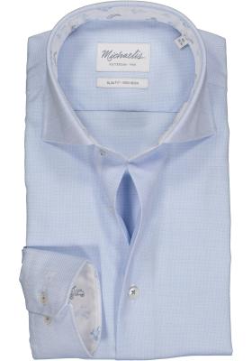Michaelis Slim Fit  overhemd, lichtblauw structuur (contrast)