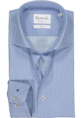 Michaelis Slim Fit  overhemd, blauw met wit dessin (contrast)