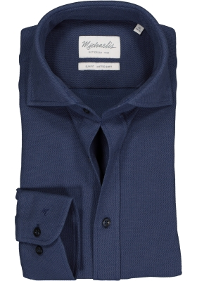 Michaelis Slim Fit  overhemd, donkerblauw knitted shirt