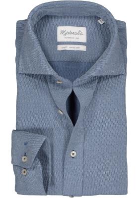 Michaelis Slim Fit  overhemd, blauw knitted shirt