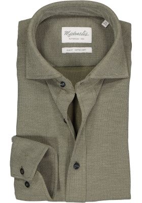 Michaelis Slim Fit  overhemd, olijfgroen knitted shirt