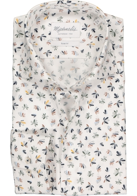 Michaelis Slim Fit  overhemd, wit met blauw dessin