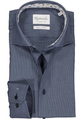 Michaelis Slim Fit  overhemd, blauw met wit mini dessin