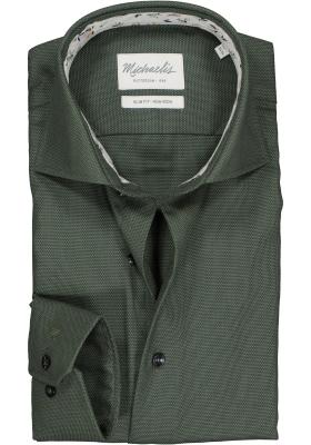 Michaelis Slim Fit  overhemd, groen met wit mini dessin (contrast)