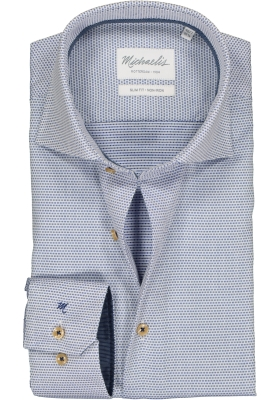 Michaelis Slim Fit  overhemd, blauw met wit mini dessin (contrast)