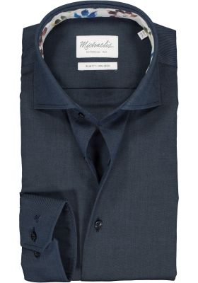 Michaelis Slim Fit mouwlengte 7 overhemd, donkerblauw twill (contrast)