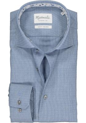 Michaelis Slim Fit mouwlengte 7 overhemd, blauw structuur (contrast)