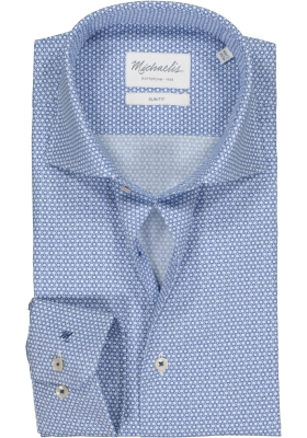 Michaelis Slim Fit mouwlengte 7 overhemd, blauw met wit dessin (contrast)
