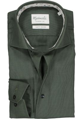Michaelis Slim Fit mouwlengte 7 overhemd, groen met wit mini dessin (contrast)