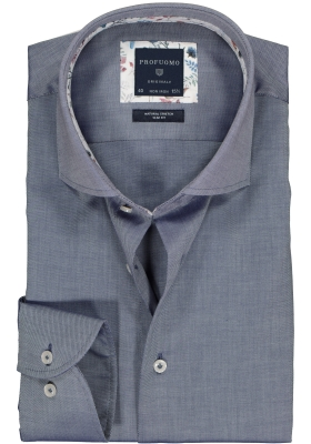 Profuomo Slim Fit  overhemd, blauw twill (contrast)