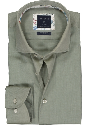 Profuomo Slim Fit  overhemd, olijfgroen twill (contrast)