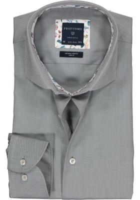 Profuomo Slim Fit  overhemd, grijs twill (contrast)