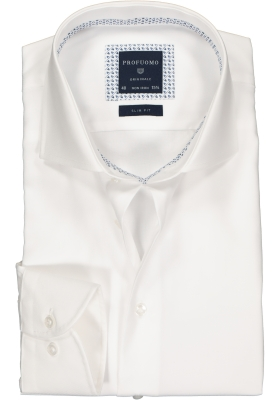 Profuomo Slim Fit  overhemd, wit twill