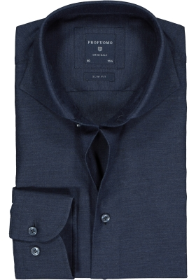 Profuomo Slim Fit  overhemd, donkerblauw jeans twill