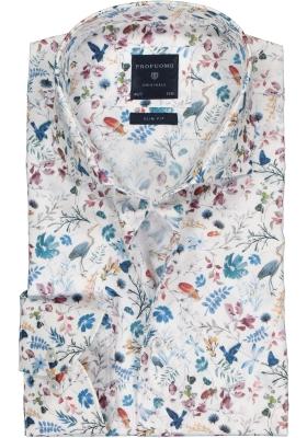 Profuomo Slim Fit  overhemd, mouwlengte 7, wit met blauw dessin (contrast)