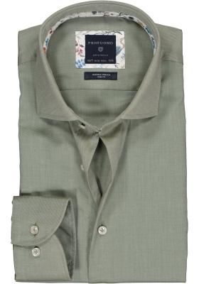 Profuomo Slim Fit mouwlengte 7 overhemd, olijfgroen twill (contrast)