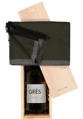 Heren cadeaubox: witte wijn met sjaal