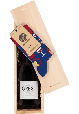 Heren en dames cadeaubox: rode wijn met Many Mornings Bonjour France Socks