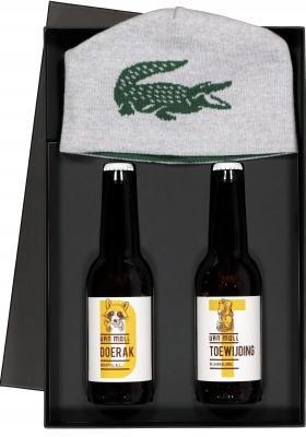 Heren cadeaubox: Moll bier met omkeerbare Lacoste muts
